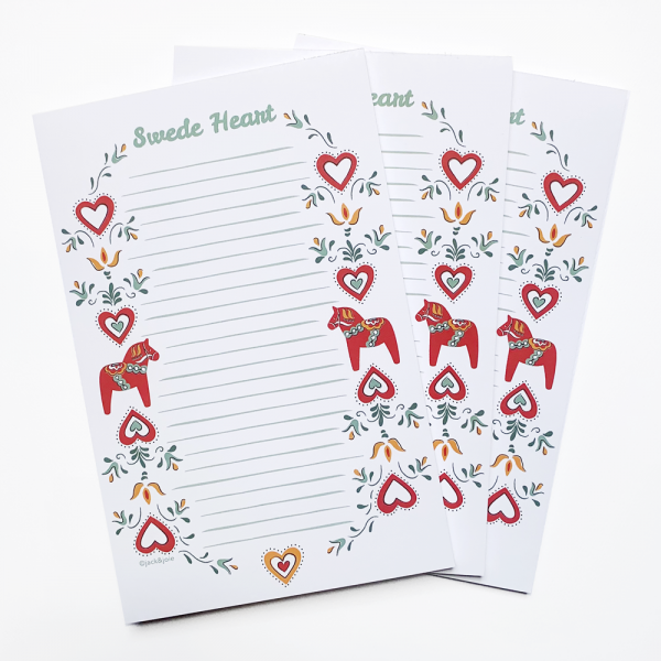 Swedish Notepad with flowers and dala horses